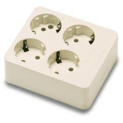 Base multiple electricidad 4 tomas tt policarbonato blanco famatel 2504