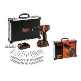 Taladro percutor 18v li 1,5 ah caja metalica 2 baterias 10mm bdchd18bafc-qw blac