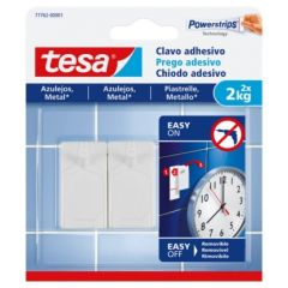 Colgador hogar adhesivo reutilizable clavo 2kg plastico blanco tesa tape 2 pz 77762-00001-00