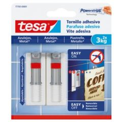 Colgador hogar adhesivo reutilizable tornillo ajustable 3kg plastico blanco tesa tape 2 pz 77765-00001-00