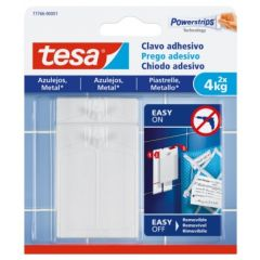 Colgador hogar adhesivo reutilizable clavo 4kg plastico blanco tesa tape 2 pz 77766-00001-00