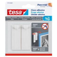 Colgador hogar adhesivo reutilizable clavo 1kg plastico blanco tesa tape 2 pz 77773-00001-00