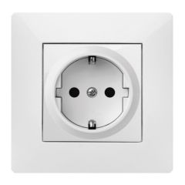 Base enchufe electricidad schuko tt empotrar 16a-250v abs blanco famatel habitat 15 9123