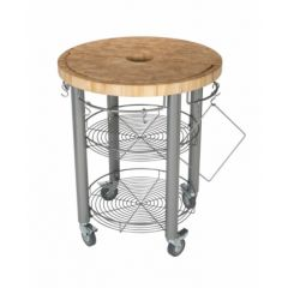 Carro cocina redondo 76x91cm acero/madera chris&chris