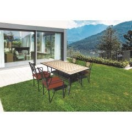Mesa jardin 120x80x74cm hierro mosaico negro natuur nt118527