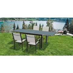 Mesa jardin extensible 80/160x80x75cm aluminio/cristal antracita natuur nt118534