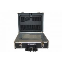 Maleta herramientas reforzada 450x330x155mm aluminio negro nivel