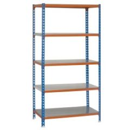 Estanteria ordenacion 5 baldas sin tornillos 1800x900x300mm metal azul/naranja/galvanizado simonrack 457100024189035
