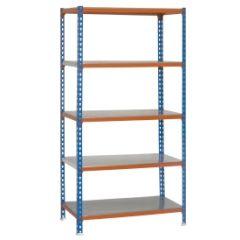 Estanteria ordenacion 5 baldas sin tornillos 2000x1100x400mm metal azul/naranja/galvanizado simonrack 457100024201145