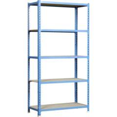 Estanteria ordenacion 5 baldas sin tornillos 2000x1000x400mm metal azul/madera simonrack 448100025201045