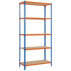 Estanteria ordenacion 5 baldas sin tornillos 2000x1100x400mm metal azul/naranja/madera simonrack 458100025201145