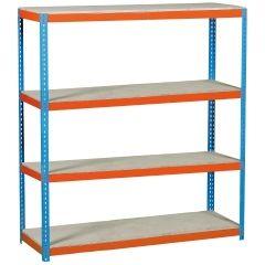 Estanteria ordenacion 4 baldas sin tornillos 600kg 2000x1500x450mm metal azul/naranja/madera simontaller-simonforte simonrack 458100045201548