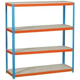 Estanteria ordenacion 4 baldas sin tornillos 600kg 2000x2400x600mm metal azul/naranja/madera simontaller-simonforte simonrack 458100045202468