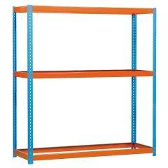 Estanteria ordenacion 3 baldas sin tornillos 400kg 2000x1200x600mm metal azul/naranja simontaller-ecoforte simonrack 450100047201260