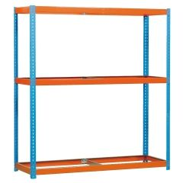 Estanteria ordenacion 3 baldas sin tornillos 400kg 2000x1800x450mm metal azul/naranja simontaller-ecoforte simonrack 450100047201840