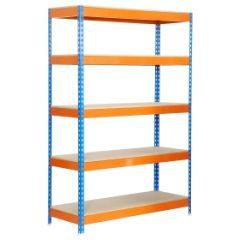 Estanteria ordenacion 5 baldas sin tornillos 300kg 2000x1000x600mm metal azul/naranja/madera simontaller-bricoforte simonrack 458100040201065