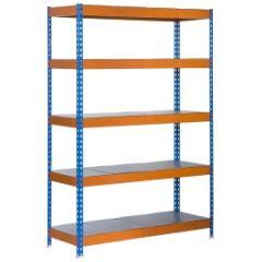 Estanteria ordenacion 5 baldas sin tornillos 300kg 2000x1200x600mm metal azul/naranja/galvanizado simontaller-bricoforte simonrack 457100040201265