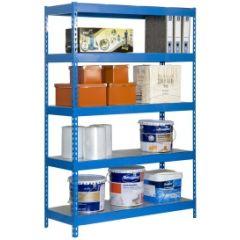Estanteria ordenacion 5 baldas sin tornillos 300kg 2000x1200x600mm metal azul/galvanizado simontaller-bricoforte simonrack 447100040201265