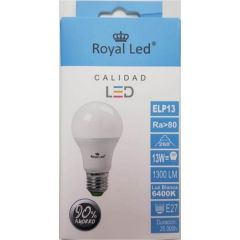 Lampara iluminacion estandar led royal led e27 13w 1300lm 6400k 111296