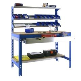 Banco trabajo 5 baldas sin tornillos 1445x910x610mm metal azul/madera simonrack 448100945159074