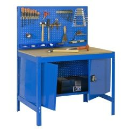 Banco trabajo 1 balda sin tornillos 1445x910x610mm metal azul/madera simonrack 448100212000900
