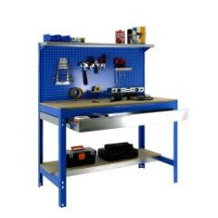 Banco trabajo 3 baldas sin tornillos 1445x1210x610mm metal azul/madera simonrack 448100021126012