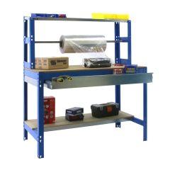 Banco trabajo 3 baldas sin tornillos 1445x910x760mm metal azul/madera simonrack 448100945159073