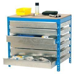Banco trabajo 1 balda sin tornillos 842x1210x760mm metal azul/madera simonrack 448100645127513