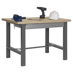 Banco trabajo 1 balda con tornillos 865x1500x750mm metal gris oscuro/madera simonrack 338109218841571