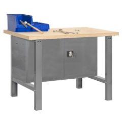Banco trabajo 1 balda con tornillos 865x1200x750mm metal gris oscuro/madera simonrack 338100218001200