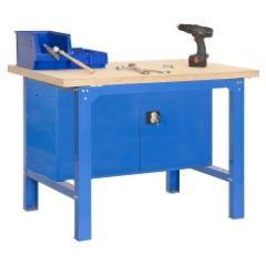 Banco trabajo 1 balda con tornillos 865x1500x750mm metal azul/madera simonrack 448100218001500