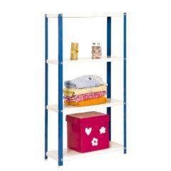 Estanteria ordenacion 4 baldas con tornillos 1600x800x300mm metal azul/blanco simonrack 402100204168034