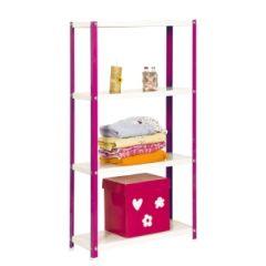 Estanteria ordenacion 4 baldas con tornillos 1600x800x400mm metal rosa/blanco simonrack p02100204168044