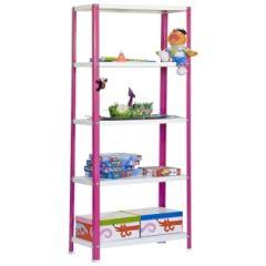 Estanteria ordenacion 5 baldas con tornillos 1800x800x400mm metal rosa/blanco simonrack p02100204188045