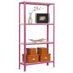 Estanteria ordenacion 4 baldas sin tornillos 1600x800x300mm metal rosa/blanco simonrack pp2100209168034