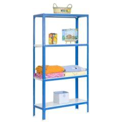 Estanteria ordenacion 4 baldas sin tornillos 1600x800x300mm metal azul/blanco simonrack 442100209168034