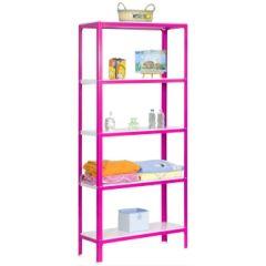 Estanteria ordenacion 5 baldas sin tornillos 1800x800x400mm metal rosa/blanco simonrack pp2100209188045