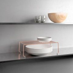 Estante cocina apilable 47x23x19cm inox brooklyn copper metaltex