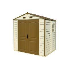 Caseta ordenacion doble puerta 245x168x223cm duramax beige/marron storeall 8x6 30115-1