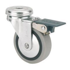 Rueda giratoria con freno agujero pasante 022kg cojinete liso 050mm goma gris n50-pgi ruedas alex 1-0551