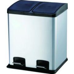 Cubo basura reciclaje con pedal 2 compartimentos 24lt 40x39x47cm acero inox viva