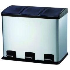 Cubo basura reciclaje con pedal 3 compartimentos 36lt 58x39x47cm acero inox viva