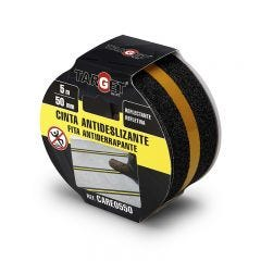Cinta antideslizante banda 50mmx  5mt negra reflectante adhesiva target care0550