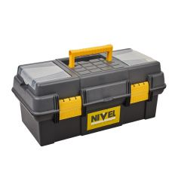 Caja herramientas bandeja 485x245x215cm polipropileno gris/negro nivel