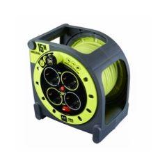 Enrollacable electricidad 4 tomas tt termostato 3x1,5mm 15mt  3680v 230v  verde/