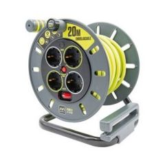 Enrollacable electricidad 4 tomas tt termostato 3x1,5mm 20mt  3680v 230v  verde/gris acero/pvc masterplug
