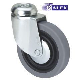 Rueda giratoria agujero pasante 040kg cojinete liso 100mm goma inyectada negra bandaje gris ruedas alex 3-0008