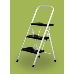 Escalera domestica barandilla baja 3 peldaños 0,67mt acero blanco vervi