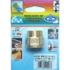 "Racor fontaneria m-h 3/4""x1/2"" laton s&m redondo 200083"