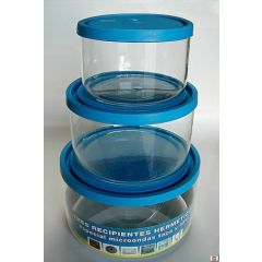 Hermetico alimentos redondo con tapa especial microondas cristal tecnhogar 3 pz 01715